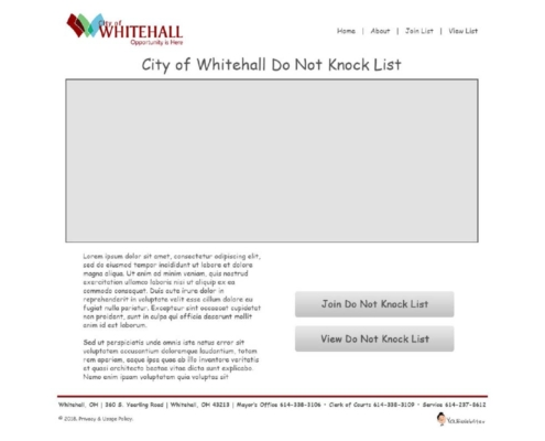 City of Whitehall Do Not Knock Registry